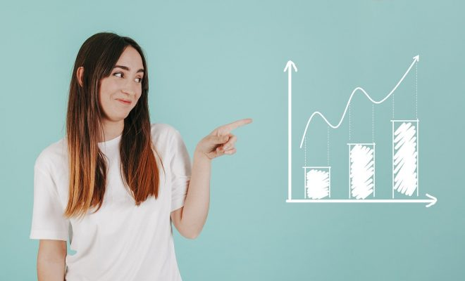 Chart Analytics Woman Young Startup Results Data